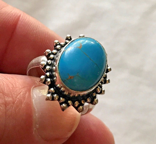 Gorgeous Ladies Copper Blue Turquoise 925 Sterling Silver Ring (#19)