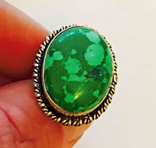 Beautiful Ladies Green Turquoise Gemstone 925 Solid Sterling Silver Ring (#20)