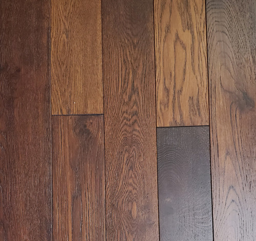 "Timeless Designs French Oak Wire Brushed Dark Rum 3/4"" x 4.75"" Solid Hardwood - $4.79 sq. ft."