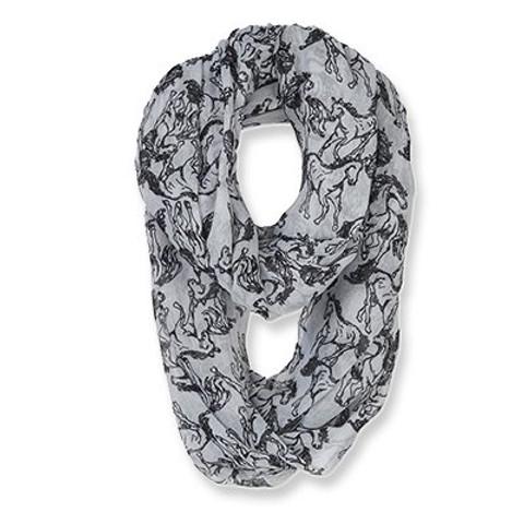 Horse Infinity Scarf - Grey