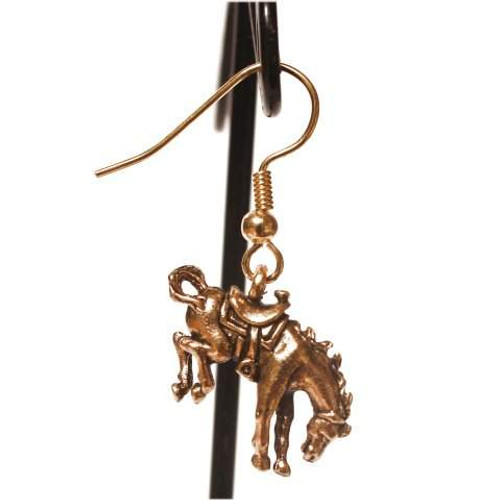 Bronc Horse Earrings - Gold