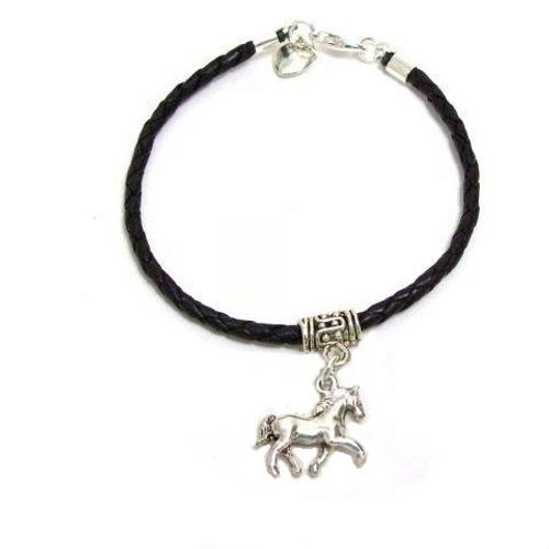 Braided Leather Horse Bracelet