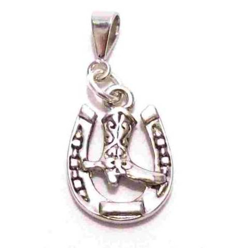 Boot in Horse Shoe Pendant/Charm