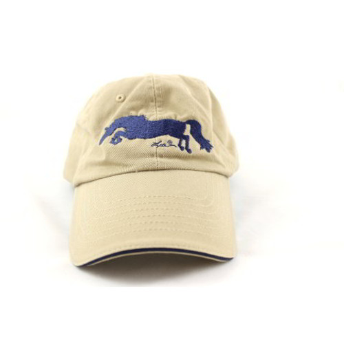 Khaki and Navy Embroidered Horse Cap