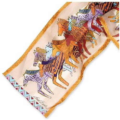Native Horses Silk Scarf - Ivory