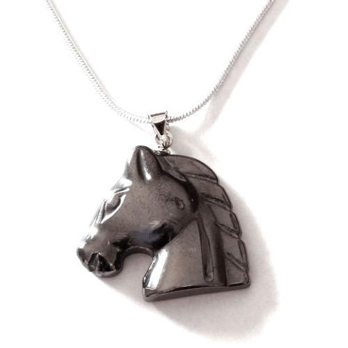 Hemalyke (man-made) Horse Head Pendant on chain