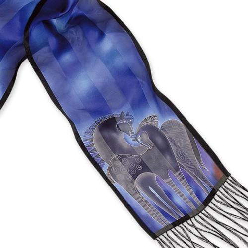 Indigo Mares Fringed Silk Scarf