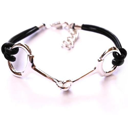 Snaffle Bit Leather Bracelet - Silver