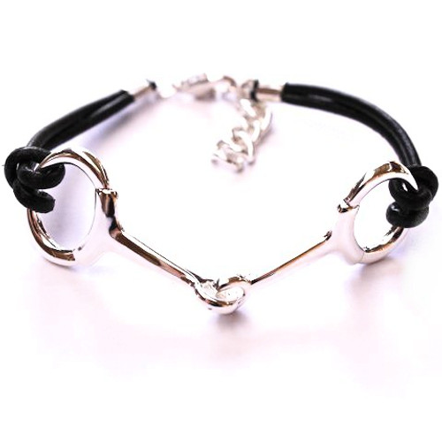Snaffle Bit Leather Bracelet - Silver