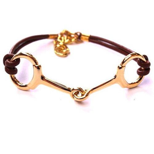 Snaffle Bit Leather Bracelet - Gold