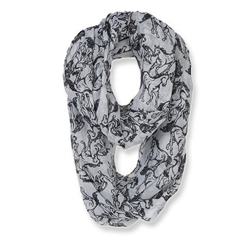 Horse Infinity Scarf - Grey