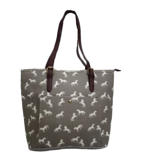 Horses Tote Bag - Grey