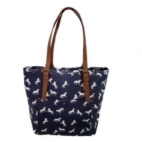 Horses Tote Bag - Navy Blue