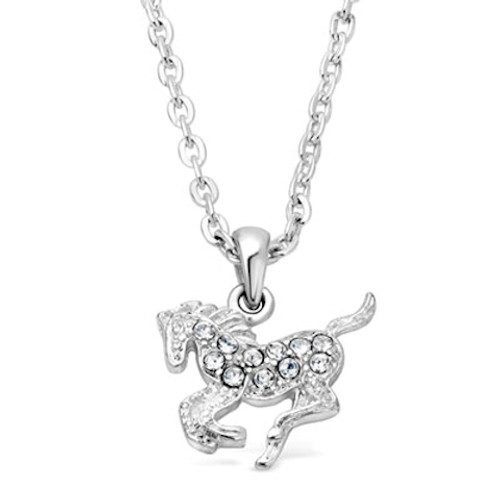 Crystal Galloping Horse Necklace