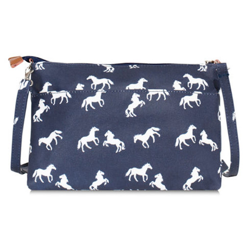 Horses Messenger Bag - Navy Blue