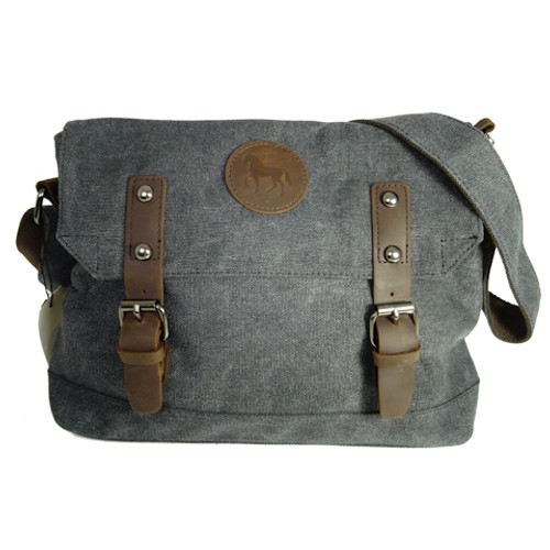 Black Canvas Horse Satchel
