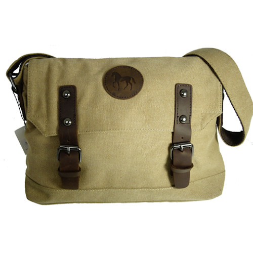 Khaki Canvas Horse Satchel