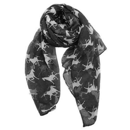 Horse Scarf - Black with White Horses