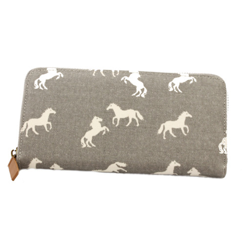 Zippered Horse Wallet - Grey
