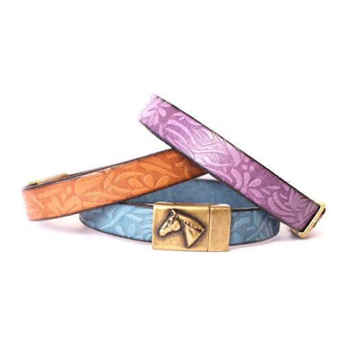 Floral Leather Horse Bracelet - Gold