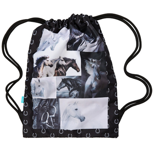 B&W Horses - Drawstring Backpack