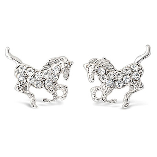Crystal Galloping Horse Earrings