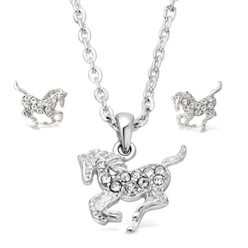 Crystal Galloping Horse Jewellery Set