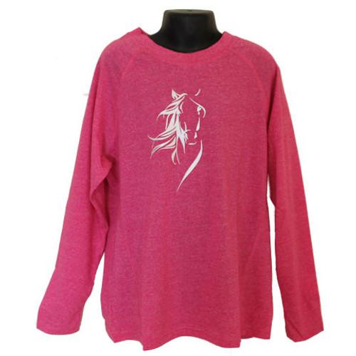 Long Sleeve Kid's Horse T-shirt - Pink