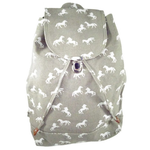 Canvas Horse Backpack - Grey