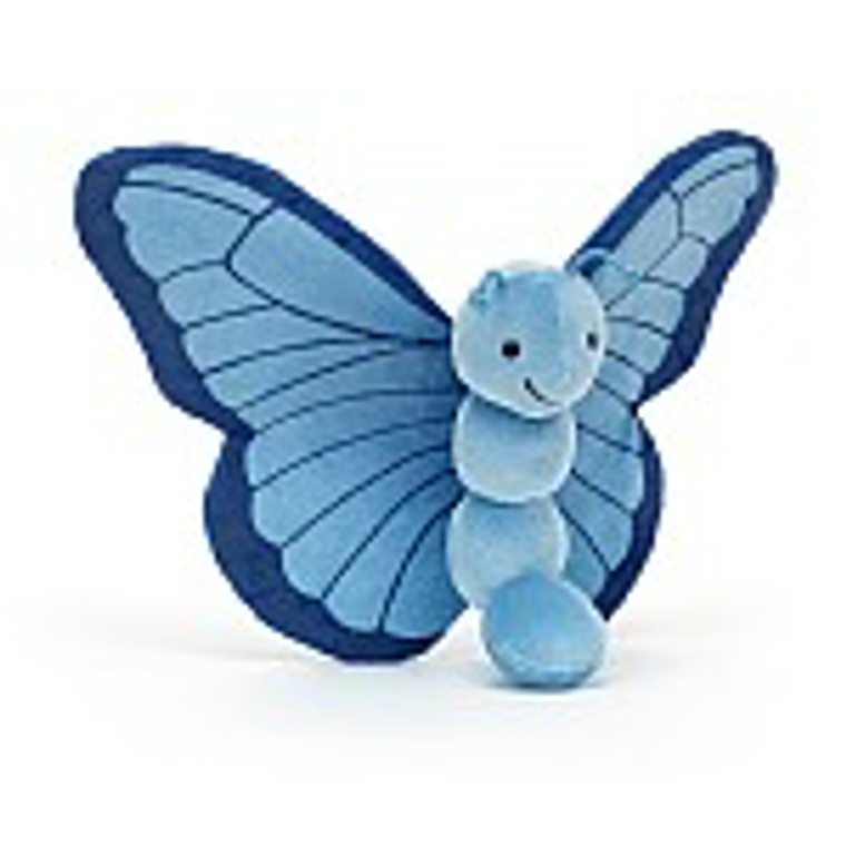 Coming in to land, it's Breezy Butterfly Iris! This fluttering friend sits up in style and shows off those splendid two-tone wings! Soft and stretchy in blue velvety bobbles, with springy feelers and a cheery grin, this bonny bug just loves adventure!
