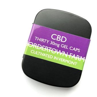 30mg Organic Full Spectrum CBD Gel Caps.  Tin of 30 Gel Caps