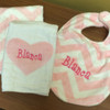 Pink Chevron Minky Bib and Heart Burp Cloth Set
