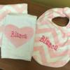 Pink Chevron Minky Bib and Heart Burp Cloth Set