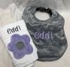 Lavender Flower Burp Cloth and Gray Polka Dot Minky Bib Set