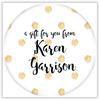Glittery Gold Polka Dots Circle Sticker