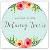 Watercolor Floral Circle Sticker