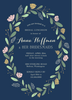 Navy Spring Wreath Invitation