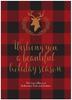 Buffalo Plaid Deer Silhouette Flat Greeting Card