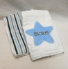 Star and Blue and Gray Stripes Burp Cloth Set