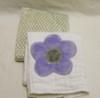 Lavender Flower and Gray Polka Dot Minky Burp Cloth Set