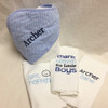 Blue Gingham Hooded Towel and Burp Cloth Set