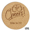 Cheers Cork Coaster Set - 10 Fonts
