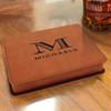 Tan Brown Vegan Leather Flask Gift Set