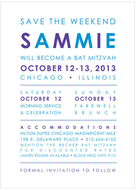 Bold Save The Date: Mitzvah