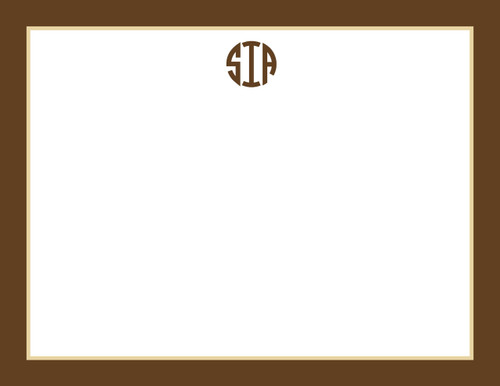 Circle Monogram Bordered Flat Note