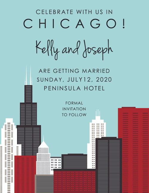 Mod Chicago Skyline: Save The Date