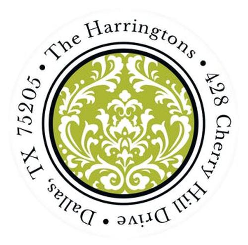 Green Vintage Damask Address Label