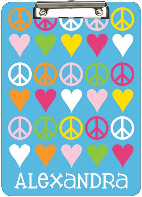 Blue Peace Love Clipboard