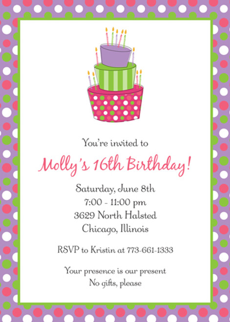 Polka Dot Cake Invitation