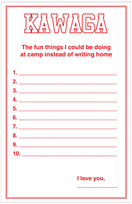 Fun Things At Camp Letter Sheets